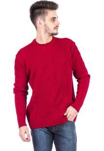 Blusa Tricot Carlan Decote Redondo Trançada Vermelho