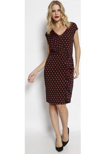 Vestido Com Transpasse & Babado - Preto & Vermelhosimple Life