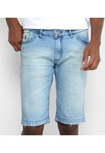 Bermuda Jeans Preston Elastano Destroyed Masculina - Masculino-Azul Claro