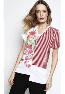 Camiseta Floral & Listras - Branca & Vermelha - Cocacoca-Cola