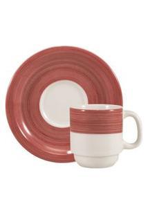 Xícara Para Café Com Pires 70 Ml Porcelana Schmidt - Dec. Cilídrica Pintura À Máo Vermelho