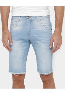 Bermuda Jeans Rock & Soda Skinny Barra Desfiada Masculina - Masculino