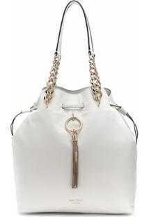 Jimmy Choo Bolsa Bucket Callie Grande Com Cordão De Ajuste - Branco