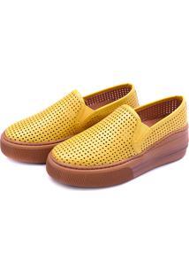 Slip On Flatform Perfuros Dhl Feminino Amarelo - Kanui