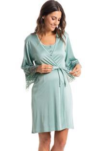 Robe Maternidade Curto Com Detalhe Em Renda Lollipop