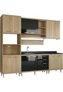 Cozinha Compacta Multimóveis Sicília 5814.132.080.610 Argila Preto Se
