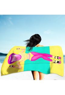 Toalha De Praia / Banho Funny Lady Pink Lips