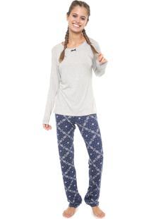 Pijama Espaço Pijama Floral Cinza/Azul-Marinho