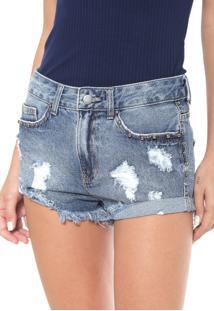 Bermuda Jeans Enfim Destroyed Azul - Azul - Feminino - Dafiti