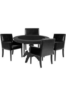 Mesa De Jogos Carteado Montreal Redonda Tampo Reversível Preto Com 4 Cadeiras Liverpool Corino Preto Liso - Gran Belo