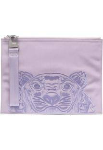 Kenzo Embroidered-Tiger Clutch Bag - Roxo