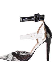 Scarpin Salto Alto Week Shoes Animal Print Branco E Preto