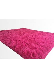 Tapete Saturs Shaggy Pelo Alto Rosa - 120 X 200 Cm Tapete Para Sala E Quarto