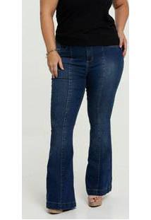 Calça Jeans Flare Feminina Plus Size Razon