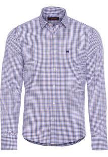 Camisa Masculina Luiz Inglesinha - Azul E Marrom