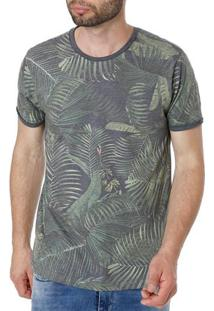 Camiseta Manga Curta Masculina Vels Cinza/Verde