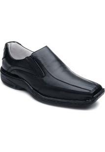 Sapato Confortável Bico Quadrado Ranster - Masculino-Preto
