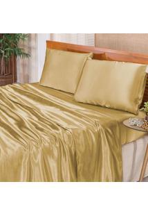 Jogo De Cama Romantic Dourado Queen 04 Peças Dourados Enxovais