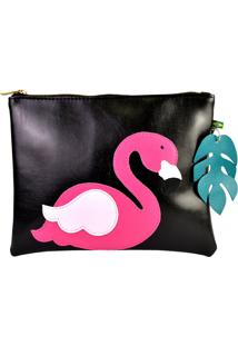 Necessaires Do Flamingo Preta Mumagi