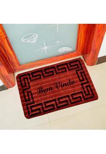 Capacho Carpet Bem Vindo Rustico Vermelho