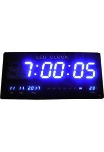 6ffd331d0ab ... Relogio De Parede De Led Azul Digital Alarme Data Temperatura (Rel-61)