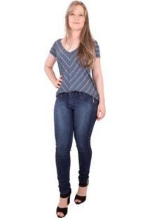 Blusa Via Costeira Listrada E Alongada Com Decote V - Feminino-Azul+Prata