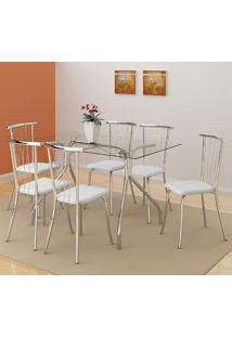 Mesa 387 Com Vidro Incolor Cromada Com 6 Cadeiras 154 Branca Carraro