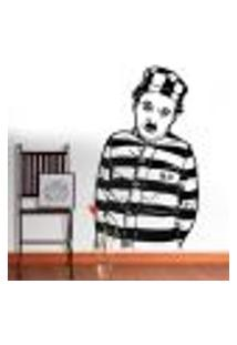 Adesivo De Parede Charlie Chaplin Prisioneiro - P 70X40Cm