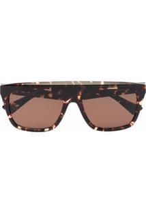 Bottega Veneta Eyewear Óculos De Sol Quadrado Com Efeito Tartaruga - Marrom