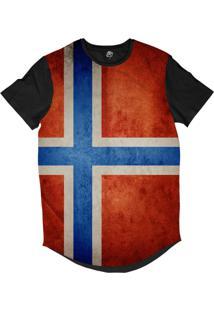 Camiseta Longline Bsc Bandeira Noruega Sublimada Preto