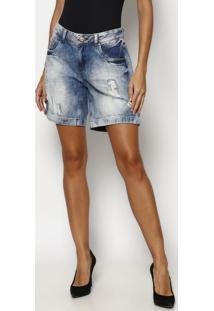 Bermuda Jeans Com Destroyed- Azultuareg