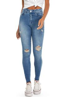 Calça Azul Skinny Cropped Jeans