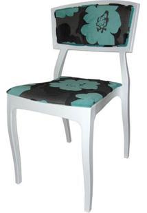 Cadeira Bardo Cor Branca Com Tecido Estampado - 23002 Sun House
