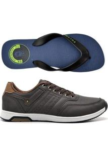 Kit Tenis Jogging + Chinelo Top Franca Shoes Masculino - Masculino-Marrom+Azul
