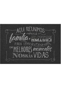 Capacho Melhores Momentos- Preto & Cinza- 60X40Cm