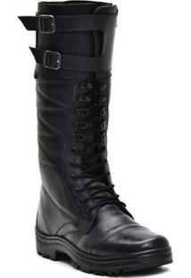 Bota Atron Shoes Militar Cano Alto - Masculino-Preto