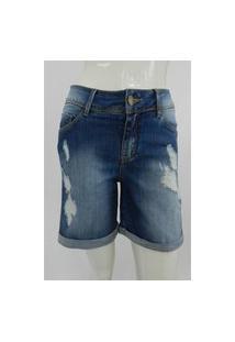 Bermuda Lado Avesso Curve Jeans Destroyed Azul Tam.38
