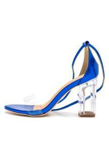Sandalia Salto Alto Feminino Confort Azul