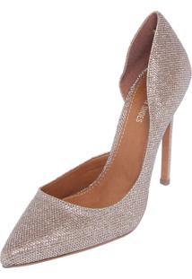 Scarpin Dafiti Shoes Lamê Dourado