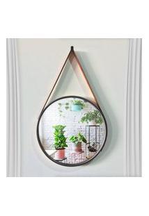Espelho Decorativo Adnet Redondo Preto 45 Cm Com Alça Marrom D'Rossi