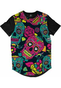 Camiseta Bsc Longline Caveira Mexicana Diamante Sublimada Masculina - Masculino-Marinho