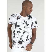 5f2e5753d8 Camiseta Masculina Slim Fit Estampada De Folhas Manga Curta Gola Careca  Branca