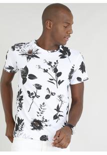 Camiseta Masculina Slim Fit Estampada De Folhas Manga Curta Gola Careca Branca