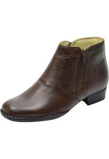 Botina Sola Concha Costurada Conforto Atron Shoes 402 Em Couro Café Com Zipper
