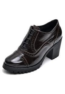 Ankle Boot Feminino Qea 19000 Verniz Café 1334