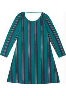 Vestido Verde Turquesa Curto Listrado
