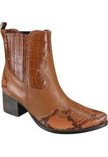 Bota Ankle Boot Country Cravo E Canela