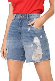 Bermuda Jeans My Favorite Thing(S) Reta Destroyed Grandfather Azul