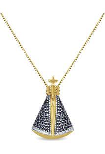 Pingente N. Sra. De Aparecida Ouro Amarelo Safiras E Diamantes 20 Mm