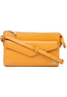 Bolsa Couro Jorge Bischoff Mini Bag Envelope Feminina - Feminino-Amarelo